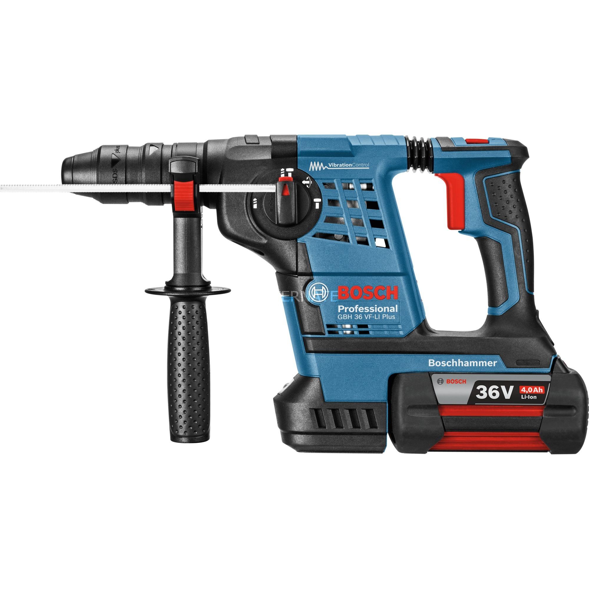 bosch akku-bohrhammer gbh 36 vf-li plus professional blau, l-boxx