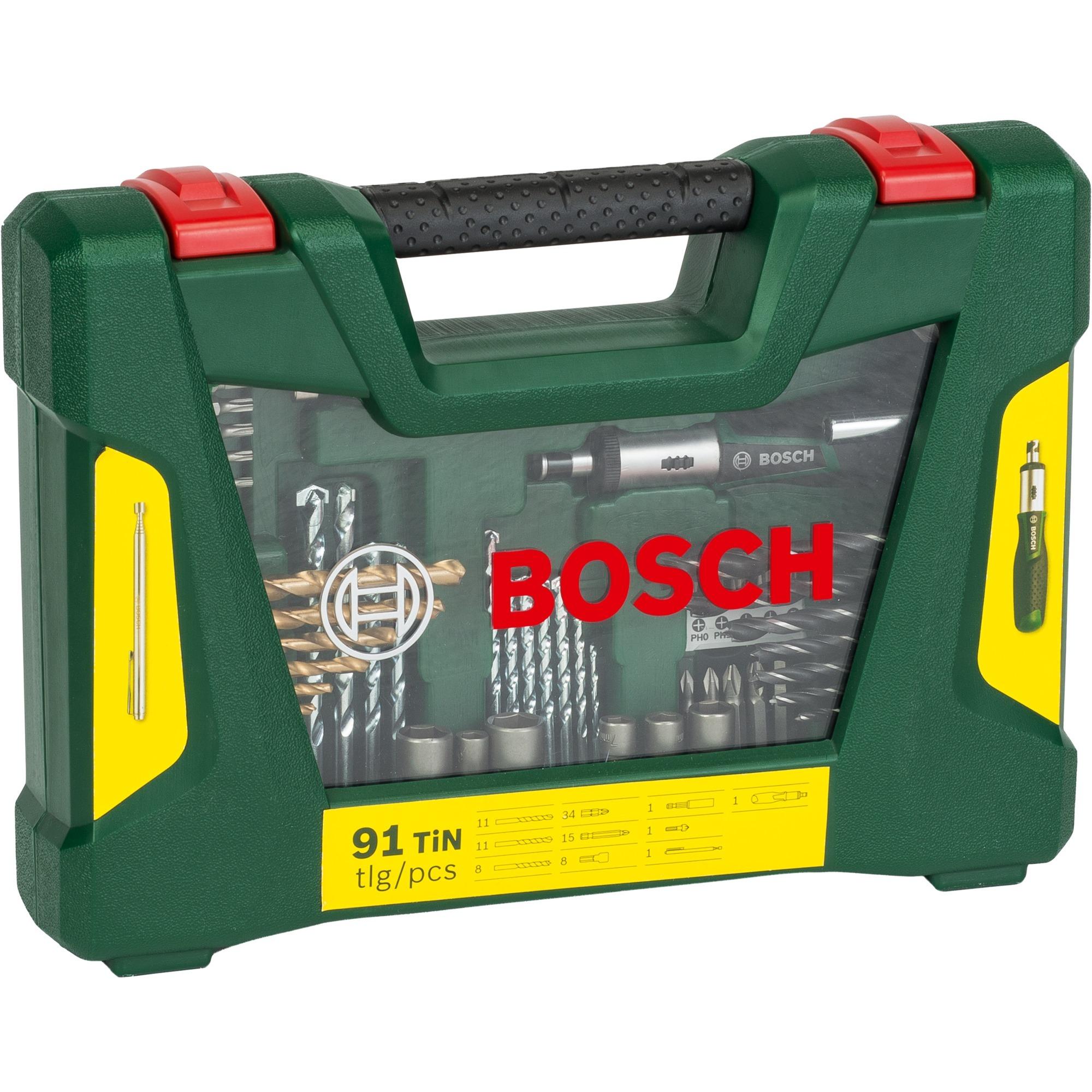 bosch v-line tin bohrer- / bit-set, 91-teilig, bohrer- & bit-satz grün