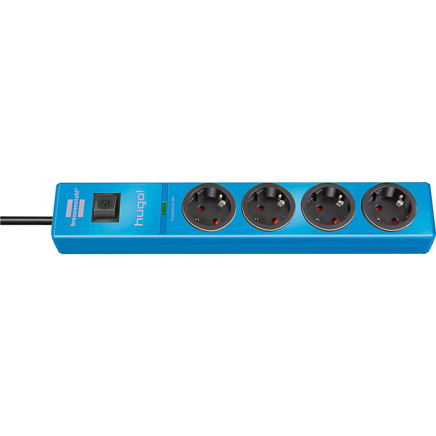 brennenstuhl hugo!, 4-fach steckdosenleiste blau